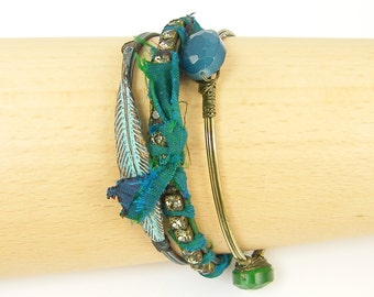 Teal Bracelet Set, Turquoise Bangle Bracelet, Green Brass Bracelet Verdigris Bracelet Rhinestone Bangle Bracelet Stackable Bracelets |BC2-20
