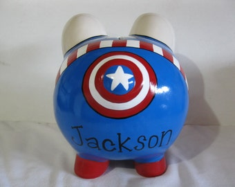 Personalized, Hand Painted, Capt. America Piggy Bank - MADE TO ORDER