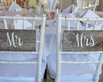 Rustic Wedding Chair Signs for Bride and Groom,Repurposed Wood Chair Signs,Mr and Mrs,Reclaimed Wood Sign,Chair Signs for Weddings