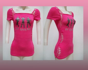 SALE!!! SMALL - Juniors / Womens Hot Pink Weaved and Cut Top Size Small Shredded T Cowgirl Wear