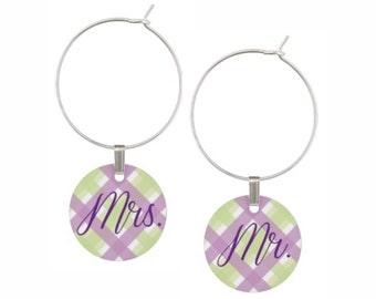 Mr. and Mrs. wedding wine charms set of 2, purple green plaid, Bride Groom wine charms