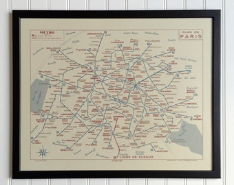 Paris Metro Map - 1956