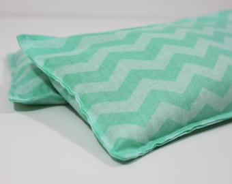 Neck & Shoulder Rice Bag - 4.5 x 21 inches, hot or cold therapy pack, mint chevron pattern, rice heating pad