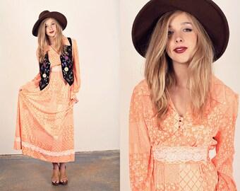 Vintage 70s Lace Maxi Orange Spring Rayon Dress