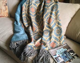 Turquoise Aqua Moroccan Throw, Luxurious Blanket, Designer Accent