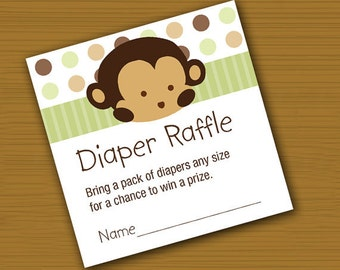 INSTANT DOWNLOAD Mod Pod Pop Monkey Raffle Tickets Digital File
