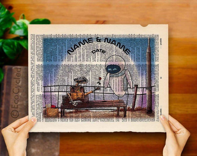 Wall-E & Eve with Names and Date 1 on Vintage Upcycled Dictionary Art Print Book Art Print Anniversary Wedding Robots Sci Fi Science Fiction