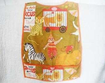 Vintage child's art smock apron circus fabric retro 1960's