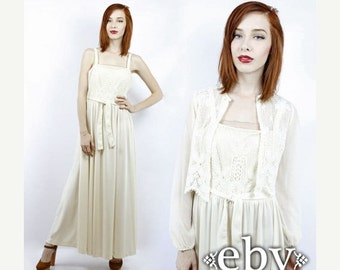 Hippie Wedding Dress Boho Wedding Dress 70s Wedding Dress Vintage 70s Cream Lace Wedding Dress + Jacket