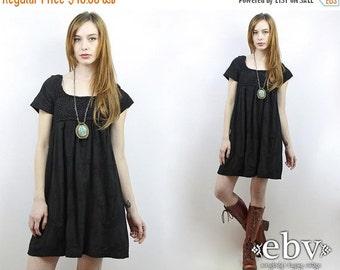 Festival Dress Crochet Dress Black Dress Hippie Dress Hippy Dress Boho Dress 90s Dress Vintage 90s Black Crochet Tent Mini Dress S M