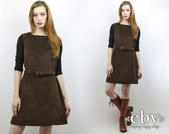 Vintage 90s Brown Cord Fitted Mini Dress S M Cord Dress Brown Dress Corduroy Dress Cord Jumper Brown Jumper Cord Mini Dress Fitted Dress