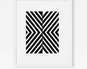 Black and White Abstract Geometric Art Print - Modern Nursery Artwork - Vertical 5x7, 8x10, 11x14 Wall Art for Office, Living Room