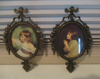 Pair of Vintage Ornate Metal Oval Wall Hanging Frames - Made in Italy