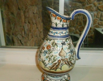 Vintage Hand Painted Vase/Pitcher Made in Portugal