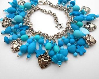 Beaded Charm Bracelet blue heart sweetheart Handmade