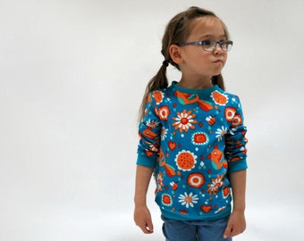 SAVE 10% - Kids sweater top bright blue orange parrot toucan birds of paradise teal funky floral scandi print jersey shirt cotton toddler