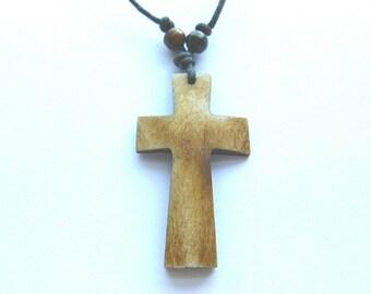 Mens 1970s BONE CROSS, Handmade Vintage Bone Cross Necklace, Brown Bone Cross on Black Cord Necklace, OOAK Bone Cross, Boho Hippie Cross