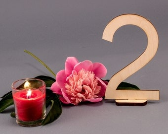 MODERN Style Balic Birch Wood Table Numbers -  5.75  inches tall Digits for Receptions and Celebrations