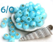 TOHO Blue Seed beads, size 6/0,  Silver Lined Milky Dark Peridot, N 2117, sky blue, round, japanese glass - 10g - S311