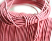 1mm Round Natural Leather cord - Rose Pink - 10 feet, LC021