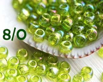 Green seed beads, TOHO beads, size 8/0, Trans-Rainbow Lime Green N 164, rocailles, japanese glass beads - 10g - S713