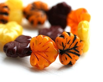 12pc Maple Leaf Beads Mix, Fall Colors, Czech glass leaves, Yellow, Orange, Brown - 11x13mm - 1949