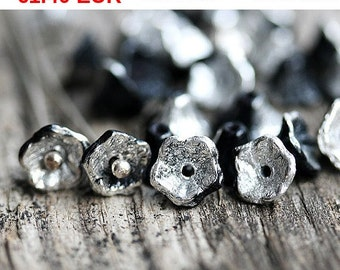 ON SALE Flower Cups, czech glass beads - Jet Black with Silver - bell flower beads, 7x5mm - 25Pc - 1448