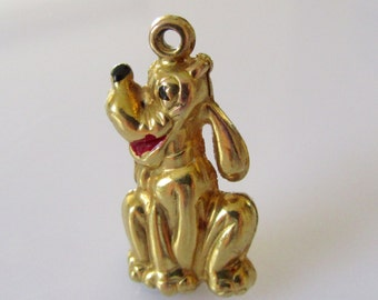 Large 9ct Gold Hollow Pluto Charm
