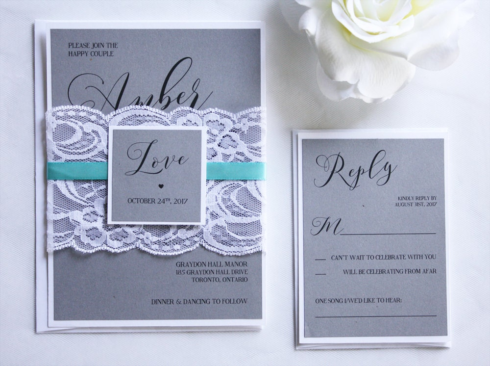 Teal Invitations Wedding: Grey & Teal Lace Wedding Invitations Grey And Teal Wedding