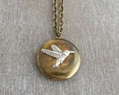 Hummingbird Locket  .. small brass locket, silver hummingbird, vintage locket, bird locket