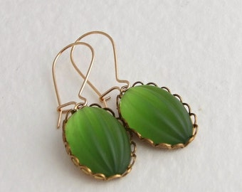 Moss Green Earrings .. green glass earrings, frosted glass, green gold earrings