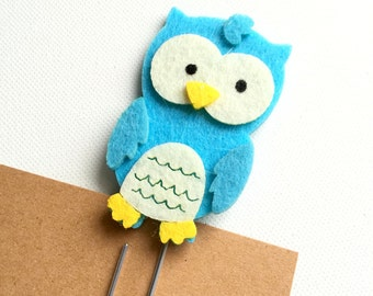 Owl Paperclip, Owl Feltie, Owl Bookmark, Forest Animal Paperclip, Filofax, Planner, Journal