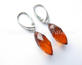 Baltic Amber Dangle Earrings,  Faceted Cognac Color