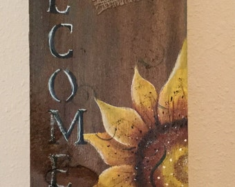Sunflower WelcomeSign  Upcycled Wood Shingle Hand painted Country Housewarming Gift Country Decor door Sign hand painted sunflower