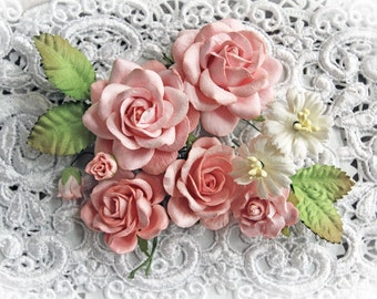 Reneabouquets Roses And Leaves Flower Set-Mulberry Paper Flowers - Dusty Rose Set Of 13 Pieces In Organza Storage Bag
