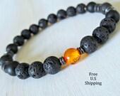Mens healing Baltic Amber, Lava Mala bracelet, Onyx, wrist mala, Balti Amber, Mala bracelet, Energy bracelet, free shipping