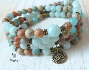 Calming 108 Mala, Terra Jasper, Amazonite, wrap bracelet or necklace, 108 rosary, Om Mala, Prayer beads, Yoga bracelet, Reiki Charged, Mala