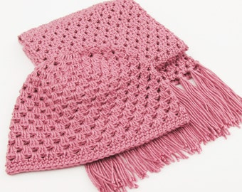 Hat and Scarf Set for Women, Winter Beanie Hat in Pink, Fringe Scarf Crochet