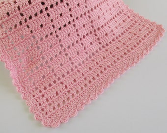 Security Blankie for Girls, Pink Doll Blanket, 16x16 Crochet Blankie