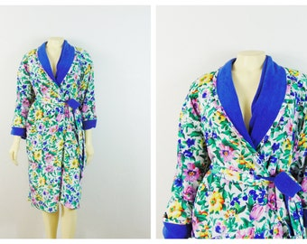 Vintage Robe Victoria's Secret Belted Floral Robe Gold Label Tag Terry Cloth Lining Size OSFA Modern Medium Large Extra Large