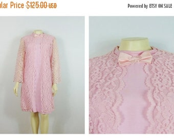 CLOTHING SALE Vintage Dress 60s Pink Lace Jacket & Dress Mad Men Era Mod Pink Dress Metal Zipper Dress Size 12 Modern Small to Medium