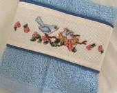 Counted Cross Stitch Hand Towel with Bluebirds in Nest Hand Made