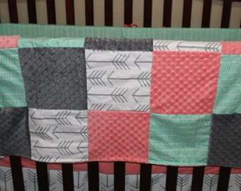 Baby Girl Blanket - Coral Minky, Mint Herringbone, Whitr Gray Arrow, Gray Minky Patchwork Baby Blanket