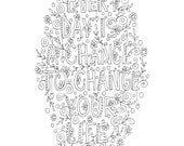 Quote coloring page -INSTANT DOWNLOAD, line art illustration. Personal use.