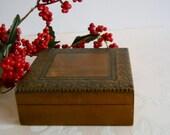 Vintage Carved Wood Trinket Treasure Box with Floral Design and Hinged Lid