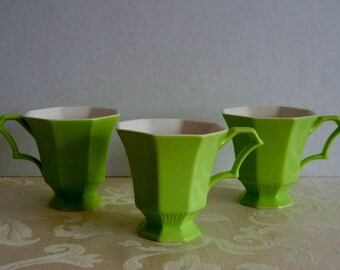 ON SALE Lime Green Tea Cups Independence Ironstone Interpace Japan Set of Three