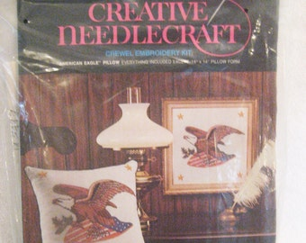 """Avon Crewel Embroidery """"American Eagle"""" Decorator Pillow Kit Vintage 1970s 14"""" Square Pillow"""