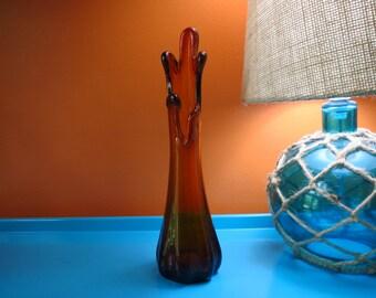 Vintage 1960s MID Century Modern Amber Swung Splash Retro Bud Art Glass Vase