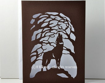 Howling Wolf - Paper Cut Card - Original Design - Handmade - Novelty Card - A6 size with envelope