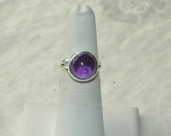 Purple Amethyst Ring Handmade Amazing 11mm Semiprecious Gemstone Ring Sterling Silver Ring Size 5 1/4 Take 20% Off Women's Amethyst Jewelry